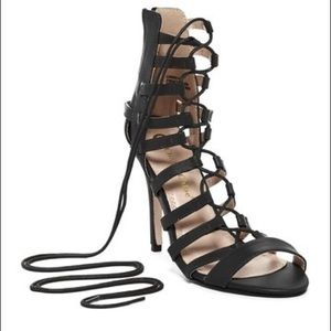 Chase & Chloe Gladiator Heels Black NIB NEW lace
